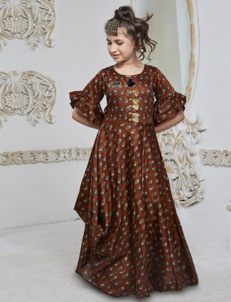 Printed brown silk gown
