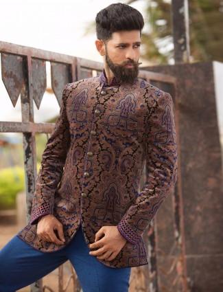 Printed brown velvet jodhpuri suit