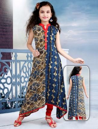 Printed cotton blue cotton salwar suit