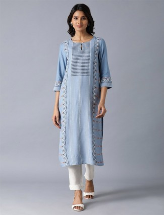 W printed cotton blue kurti for casual wear