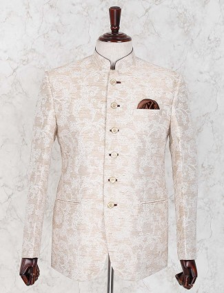 Printed cotton jute cream colored jodhpuri blazer