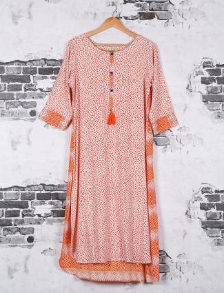 Printed cotton kurti in orange color