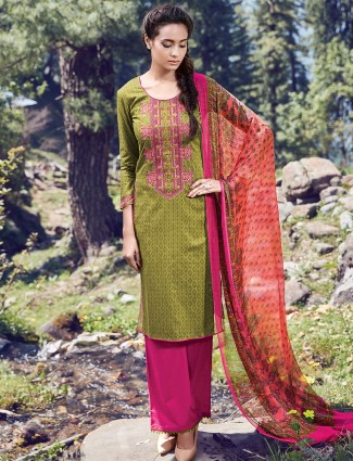 Printed cotton olive casual wear ready made salwar suit