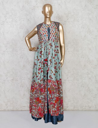 Printed cotton silk jacket style salwar suit