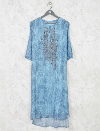 Printed cotton sky blue kurti for festive function