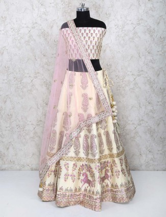 Printed cream color cotton silk semi stitched lehenga choli