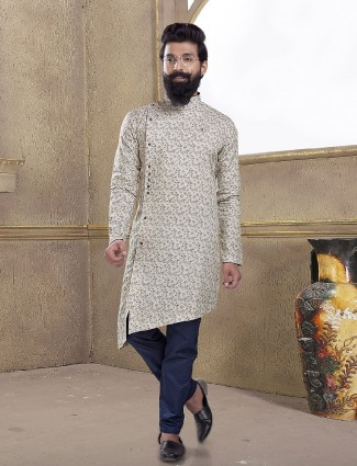 Printed cream color kurta suit