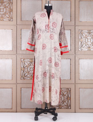 Printed cream festive wear salwar suit