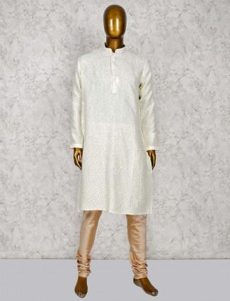 Printed cream hue cottom silk kurta suit