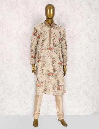 Printed cream wedding kurta suit