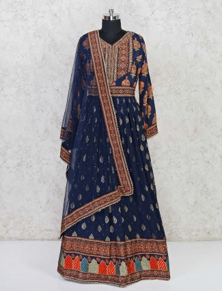 Printed crepe and satin anarkali suit in navy blue