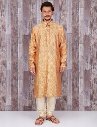 Printed golden silk wedding kurta suit