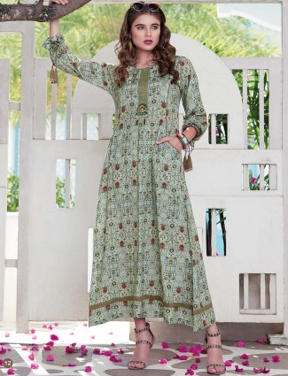 Printed green color long kurti in cotton
