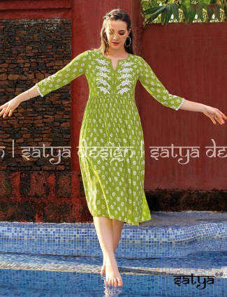 Printed green cotton casual tunic