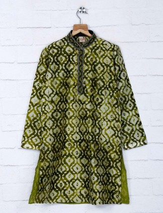 Printed green festive occasion kurta