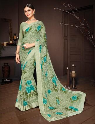 Printed green georgette saree
