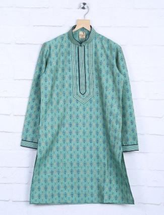 Printed green hue festive wear kurta suit