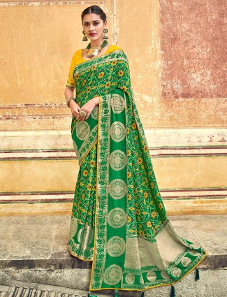 Printed green patola silk wedding saree