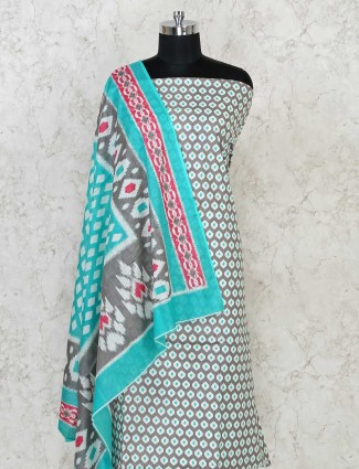 Printed grey and blue cotton dress material for festives