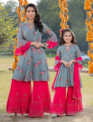 Printed grey and magenta mother daughter matching palazzo Salwar Suit in georgette