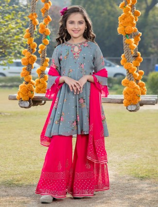 Printed grey and magenta palazzo salwar suit in georgette