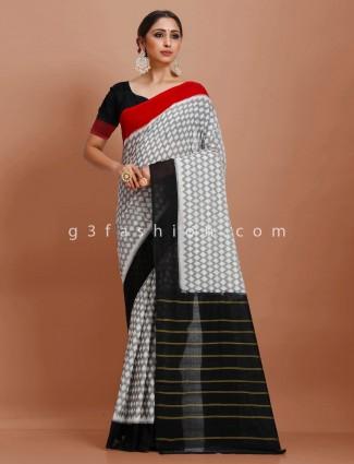 Printed grey black pure mul cotton festive wear saree