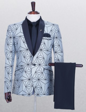 Printed grey classy terry rayon coat suit