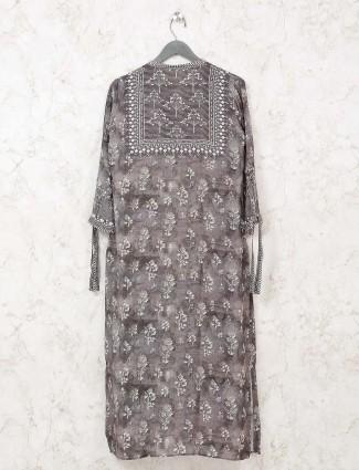 Printed grey cotton casual wear kurti