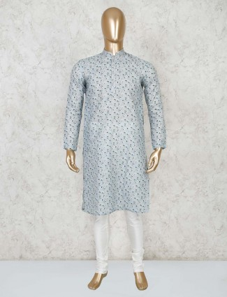 Printed grey cotton festive kurta suit