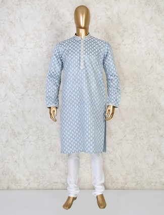 Printed grey cotton festive wear kurta suit