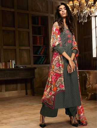 Printed grey cotton festive wear palazzo suit