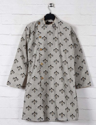 Printed grey cotton kurta suit