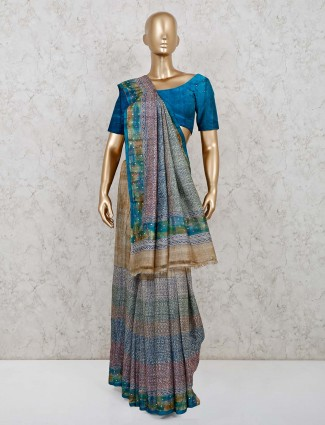 Printed grey cotton saree with unstitched blouse