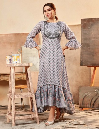 Printed grey cotton silk new collection tunic