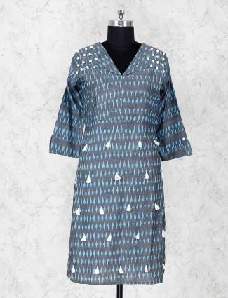 Printed grey cottton fabric kurti