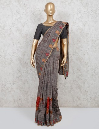 Printed grey georgette saree