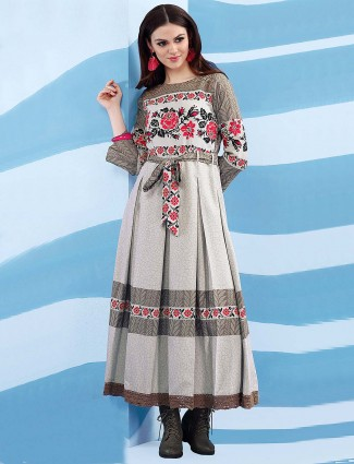 Printed grey hue cotton kurti