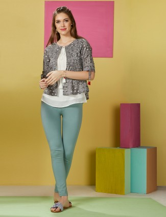Printed grey jacket style top in cotton