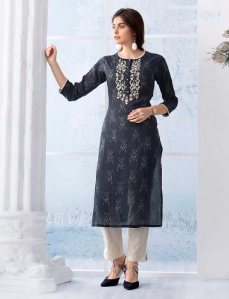 Printed grey kurti in cotton for festivals