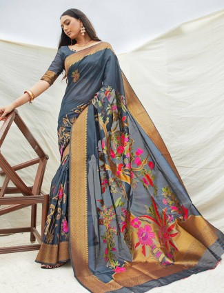 Printed grey saree in cotton