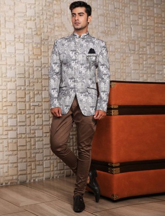 Printed grey terry rayon fabric jodhpuri suit