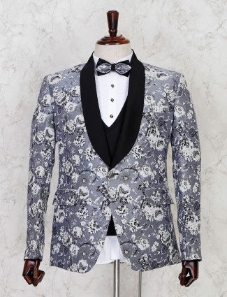 Printed grey terry rayon mens tuxedo coat suit