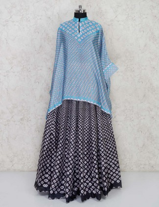 Printed light blue indo western dress for party