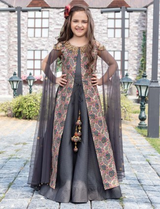 Printed jacket style grey gown
