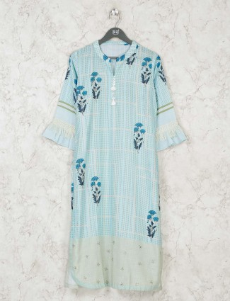 Printed light blue cotton chinese neck kurti