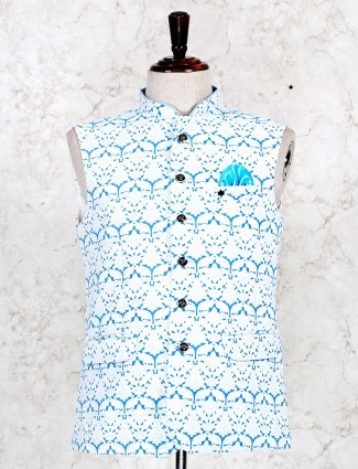 Printed light blue waistcoat in cotton
