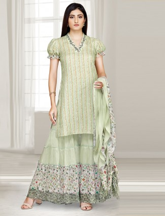 Printed light green cotton punjabi sharara suit