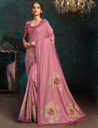 Printed marble chiffon saree in pink color