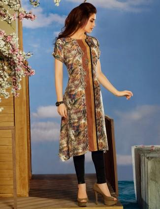 Printed maroon cotton kurti