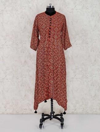 Printed maroon cotton salwar suit